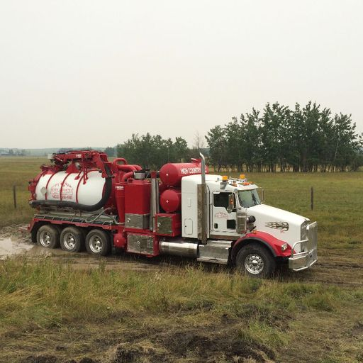 hydrovac truck in field
